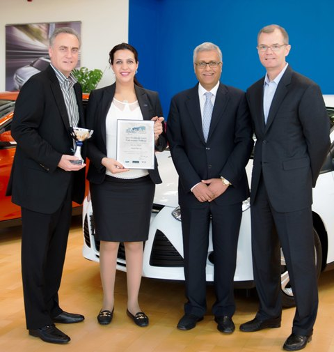 From Left to Right: Hal Feder, Director, Export Operations & Global Growth Initiatives (E&G), Ford Motor Company, Nadia Lamris)winner(, Ashok Khanna and Larry Prein.