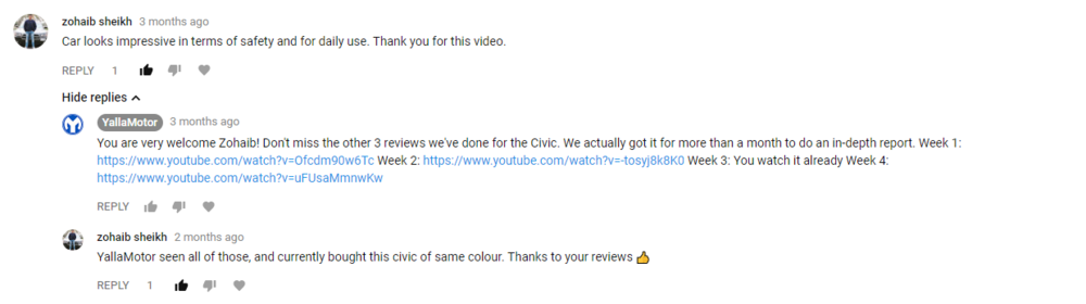 YouTube Comments YallaMotor