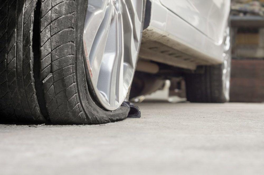 Blown car tire